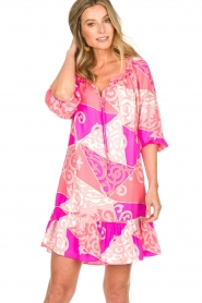 Alice & Trixie |  Silk printed dress Phille | pink  | Picture 2