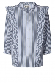 Lolly's Laundry |  Blouse with ruffles Hanni | dark blue  | Picture 1