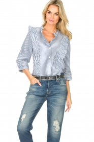 Lolly's Laundry |  Blouse with ruffles Hanni | dark blue  | Picture 2