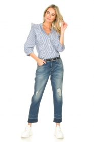 Lolly's Laundry |  Blouse with ruffles Hanni | dark blue  | Picture 3