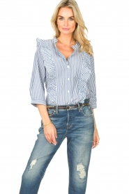 Lolly's Laundry |  Blouse with ruffles Hanni | dark blue  | Picture 5