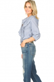 Lolly's Laundry |  Blouse with ruffles Hanni | dark blue  | Picture 6