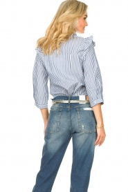 Lolly's Laundry |  Blouse with ruffles Hanni | dark blue  | Picture 7