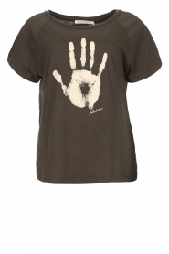 Rabens Saloner |  T-shirt with print Filina Palm | black  | Picture 1