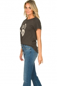 Rabens Saloner |  T-shirt with print Filina Palm | black  | Picture 5
