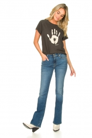 Rabens Saloner |  T-shirt with print Filina Palm | black  | Picture 3