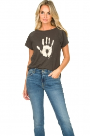 Rabens Saloner |  T-shirt with print Filina Palm | black  | Picture 2