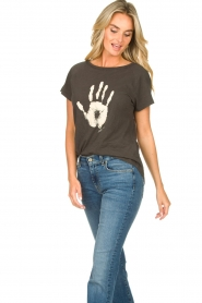 Rabens Saloner |  T-shirt with print Filina Palm | black  | Picture 4