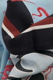 Essentiel Antwerp | Zijden sjaal Object | blauw  | Afbeelding 3
