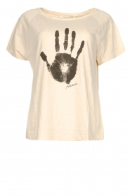 Rabens Saloner |  T-shirt with print Filina Palm | natural  | Picture 1