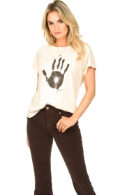 Rabens Saloner |  T-shirt with print Filina Palm | natural  | Picture 3