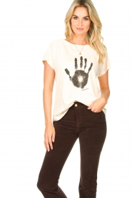 Rabens Saloner |  T-shirt with print Filina Palm | natural  | Picture 2