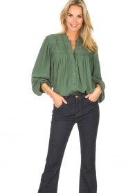 Lolly's Laundry |  Blouse with details Cara |  green  | Picture 4