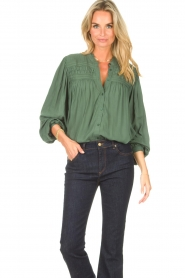Lolly's Laundry |  Blouse with details Cara |  green  | Picture 6