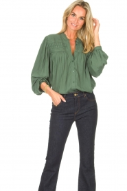 Lolly's Laundry |  Blouse with details Cara |  green  | Picture 5