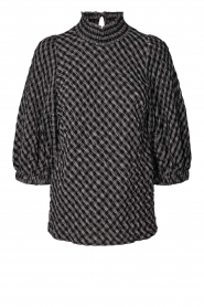 Lolly's Laundry |  Blouse with print Bobby | black and white  | Picture 1