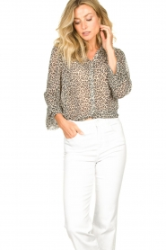 Lolly's Laundry |  Leopard print blouse Julie | grey  | Picture 2