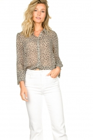Lolly's Laundry |  Leopard print blouse Julie | grey  | Picture 4