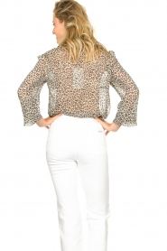 Lolly's Laundry |  Leopard print blouse Julie | grey  | Picture 6