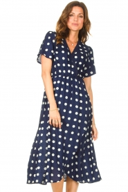 Lolly's Laundry |  Midi dress with dots Marie | blue  | Picture 4