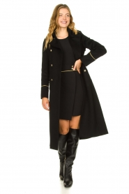 Patrizia Pepe |  Luxury coat with marine buttons Zoe | black  | Picture 6