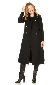 Patrizia Pepe |  Luxury coat with marine buttons Zoe | black  | Picture 5
