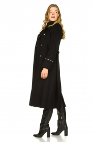 Patrizia Pepe |  Luxury coat with marine buttons Zoe | black  | Picture 7