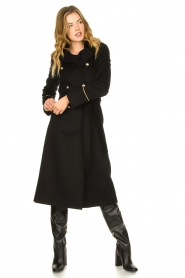 Patrizia Pepe |  Luxury coat with marine buttons Zoe | black  | Picture 4