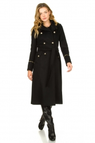 Patrizia Pepe |  Luxury coat with marine buttons Zoe | black  | Picture 2
