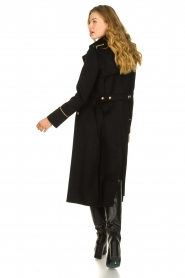 Patrizia Pepe |  Luxury coat with marine buttons Zoe | black  | Picture 8