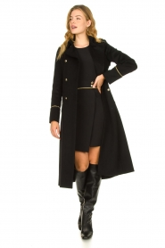 Patrizia Pepe |  Luxury coat with marine buttons Zoe | black  | Picture 3