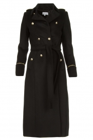 Patrizia Pepe |  Luxury coat with marine buttons Zoe | black  | Picture 1