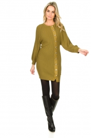 Patrizia Pepe |  Knitted dress with button details Ivy | green  | Picture 3
