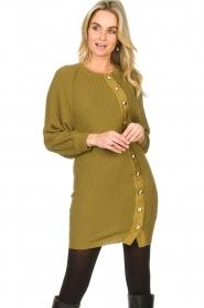 Patrizia Pepe |  Knitted dress with button details Ivy | green  | Picture 2