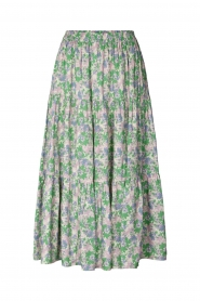 Lolly's Laundry |  Maxi skirt with floral print Morning | green  | Picture 1