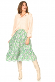 Lolly's Laundry |  Midi skirt with floral print Morning | green  | Picture 4