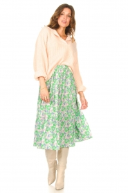 Lolly's Laundry |  Midi skirt with floral print Morning | green  | Picture 3
