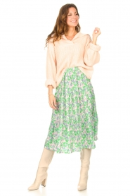 Lolly's Laundry |  Midi skirt with floral print Morning | green  | Picture 2