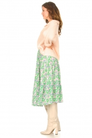 Lolly's Laundry |  Midi skirt with floral print Morning | green  | Picture 5