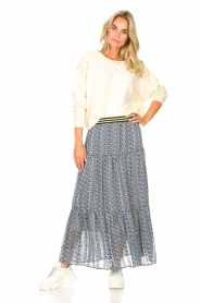 Lolly's Laundry |  Maxi skirt with print Bonny | blue  | Picture 3