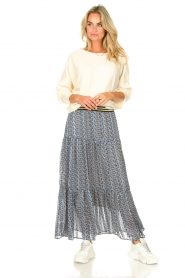 Lolly's Laundry |  Maxi skirt with print Bonny | blue  | Picture 4