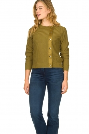 Patrizia Pepe |  Sweater with button details Misa | green  | Picture 4