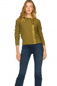 Patrizia Pepe |  Sweater with button details Misa | green  | Picture 2