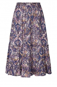 Lolly's Laundry |  Midi skirt with print Sana | blue  | Picture 1