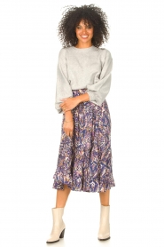 Lolly's Laundry |  Midi skirt with print Sana | blue  | Picture 2