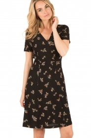 Sessun |  Short dress Miss Flowers | black  | Picture 2