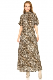 Lolly's Laundry |  Maxi skirt with animal print Mio | brown  | Picture 3