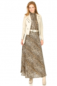 Lolly's Laundry |  Maxi skirt with animal print Mio | brown  | Picture 2