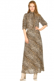 Lolly's Laundry |  Maxi skirt with animal print Mio | brown  | Picture 4