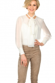 ELISABETTA FRANCHI |  Blouse with bow Sorella | White  | Picture 2
